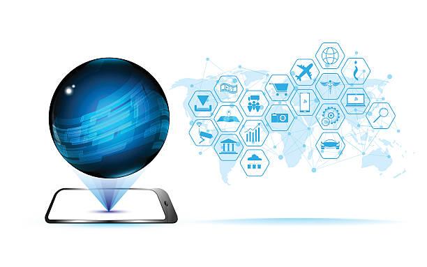 Vektor abstrakte Globus Hologramm-Technologie und Kommunikation sci-fi-Muster – Vektorgrafik