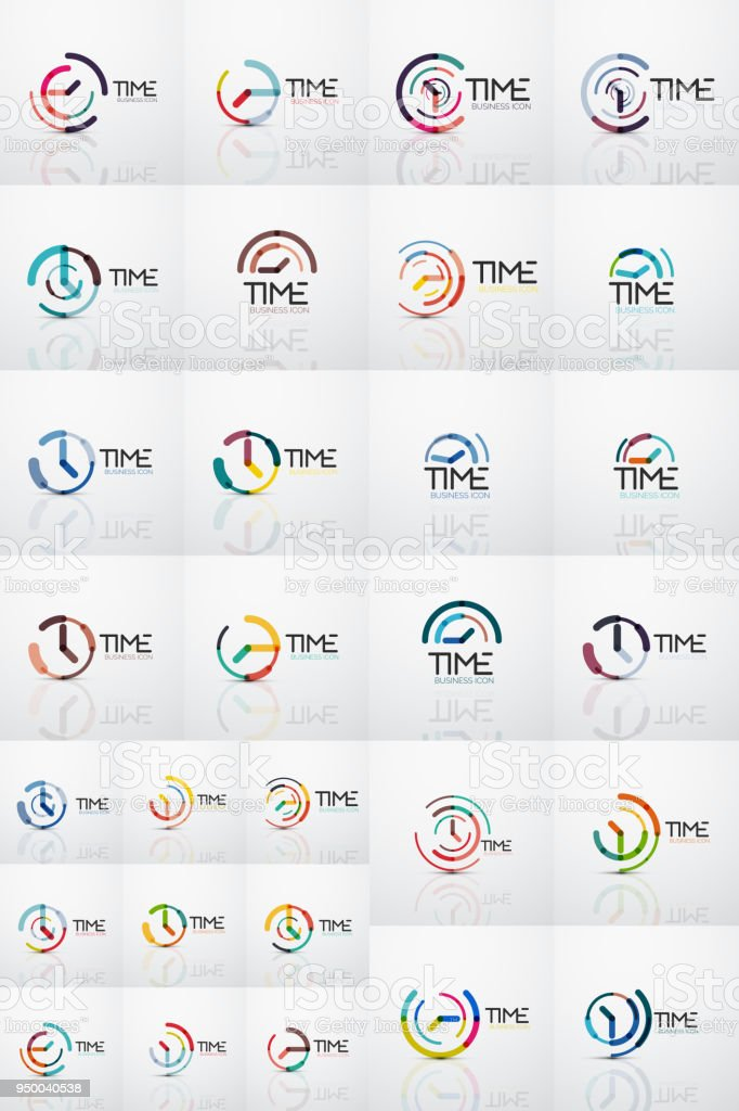 Vektorabstrakten Symbol Idee Konzept Oder Uhr Business Icons ...