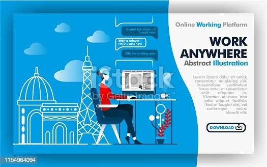 Vector abstract illustration .blue and white banner web or poster design about work anywhere. female worker work while on vacation in France. Paris city backgrounds and effel tower. Flat cartoon style. Can use for, landing page, template, ui, web, homepage, poster, banner, flyer. Flat cartoon style for web ads, marketing, promotion, sticker, wallpaper, card, background, UI/UX