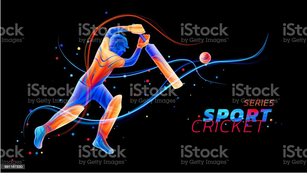 Vector abstract illustration of batsman playing cricket from colored liquid splashes and brush strokes with neon lines and colored dots. Championship and competition sports. 3d player silhouette vector art illustration