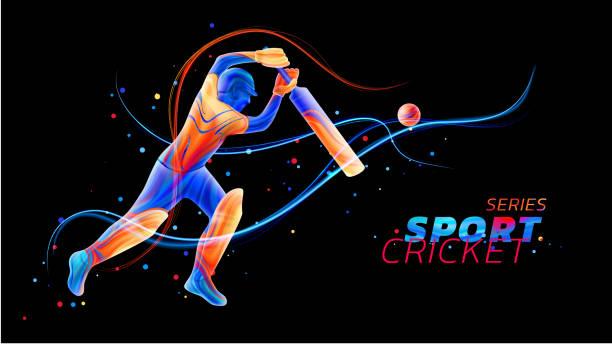 ilustraciones, imágenes clip art, dibujos animados e iconos de stock de vector ilustración abstracta del bateador jugando cricket de salpicaduras de líquido coloreados y pinceladas con color puntos y líneas de neón. deportes campeonato y competencia. silueta de jugador 3d - críquet