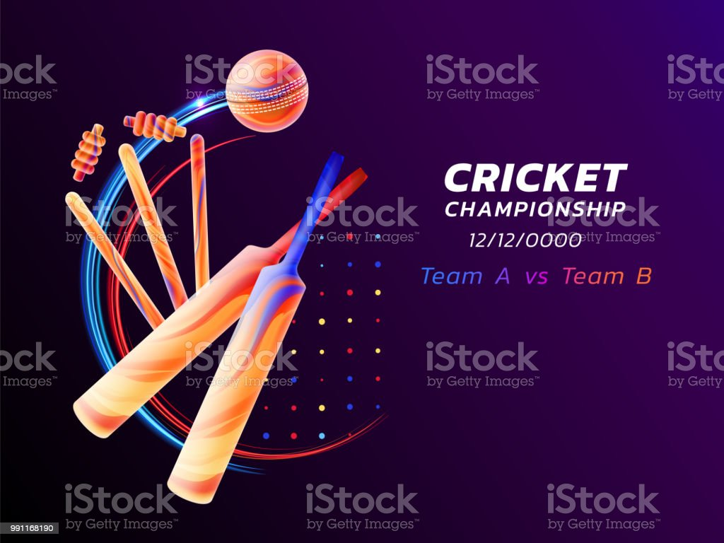 Vector abstract illustration of cricket sport from colored liquid splashes and brush strokes with neon lines and colored dots. Championship and competition concept. Sport equipment vector art illustration