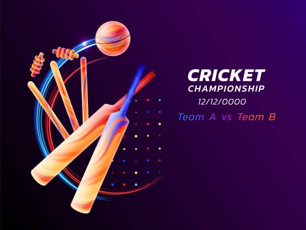 vektor-abstract illustration der cricket-sport farbige flüssigkeit spritzt ab und pinselstriche mit neon-linien und farbige punkte. meisterschaft und wettbewerb-konzept. sportgeräte - cricket stock-grafiken, -clipart, -cartoons und -symbole