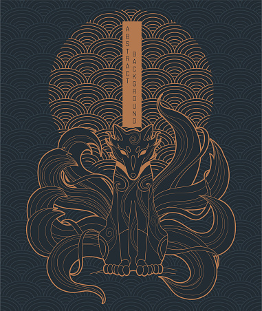 vector abstract illustration of japanese fantasy creature nine tailed fox kitsune in black and gold colours
