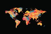 vector abstract ink splashed world map isolated on black