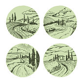 Vector Italian landscapes set. Vector hand drawn illustration. Vector sketch.