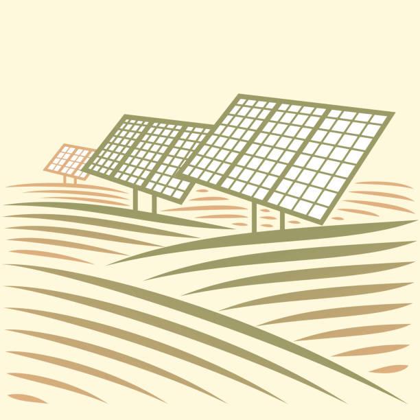 Vektor abstrakte Landschaft mit Sonnenkollektoren. Alternative Energie – Vektorgrafik