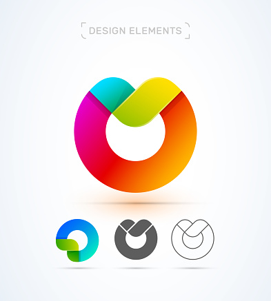 Vector abstract letter M, O logo template. Application icon. Twisted ribbon