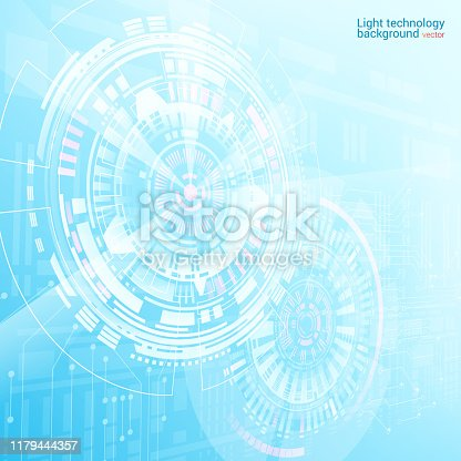Vector. Abstract light blue futuristic background. Hi-tech illustration. Futuristic software radar display. HUD user interface. Energy loading scale. Science and space technology.