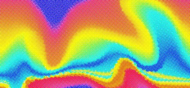 Vector abstract liquid background. Halftone waves vector art illustration