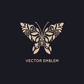 Vector abstract logo design template and emblem - butterfly silhouette made with leaves and flowers - concepts and symobls for cosmetics, beauty and florist services - butterfly illustration for print or packaging