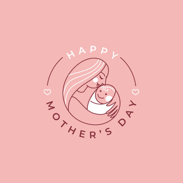 Vector abstract logo design template and illustration in simple linear style - happy mother's day greeting card vector art illustration