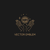 Vector abstract logo design template in trendy linear minimal style - hand with sun and stars