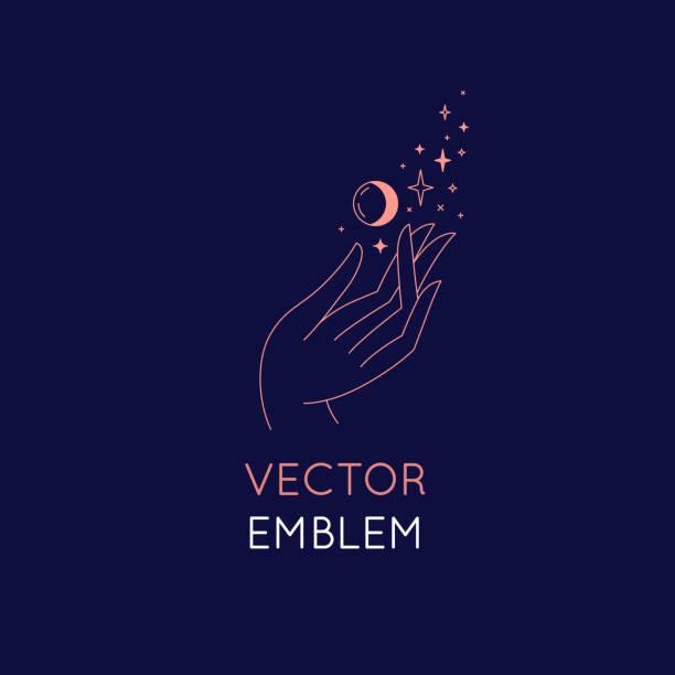 ilustraciones, imágenes clip art, dibujos animados e iconos de stock de plantilla de diseño de logotipo abstracto vectorial en estilo lineal minimalista de moda-mano con estrellas y luna - tatuajes de luna