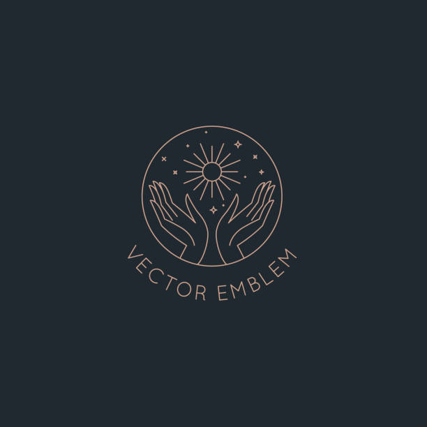 Vector abstract logo design template in trendy linear minimal style - hands with sun, moon and stars vector art illustration