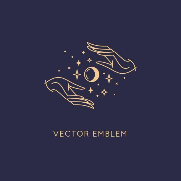 ilustraciones, imágenes clip art, dibujos animados e iconos de stock de plantilla de diseño de logotipo abstracto vectorial en estilo lineal minimalista de moda-manos y estrellas - tatuajes de diamantes