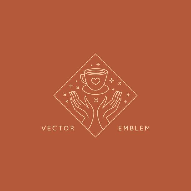 Vector abstrakte Logo-Design-Vorlage im trendigen linearen Minimal-Stil-Hände mit Kaffeetasse – Vektorgrafik