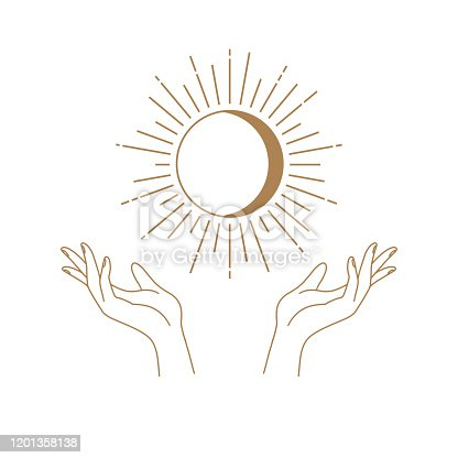 istock Vector abstract logo design template in trendy linear minimal style - hands , moon and sun - abstract symbol for cosmetics and packaging, jewellery, hand crafted or beauty products 1201358138