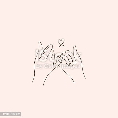 istock Vector abstract logo design template in trendy linear minimal style - touching hands - tattoo template - love and friendship concepta 1201616602