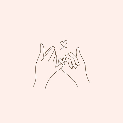 Vector abstract logo design template in trendy linear minimal style - touching hands - tattoo template - love and friendship concepta