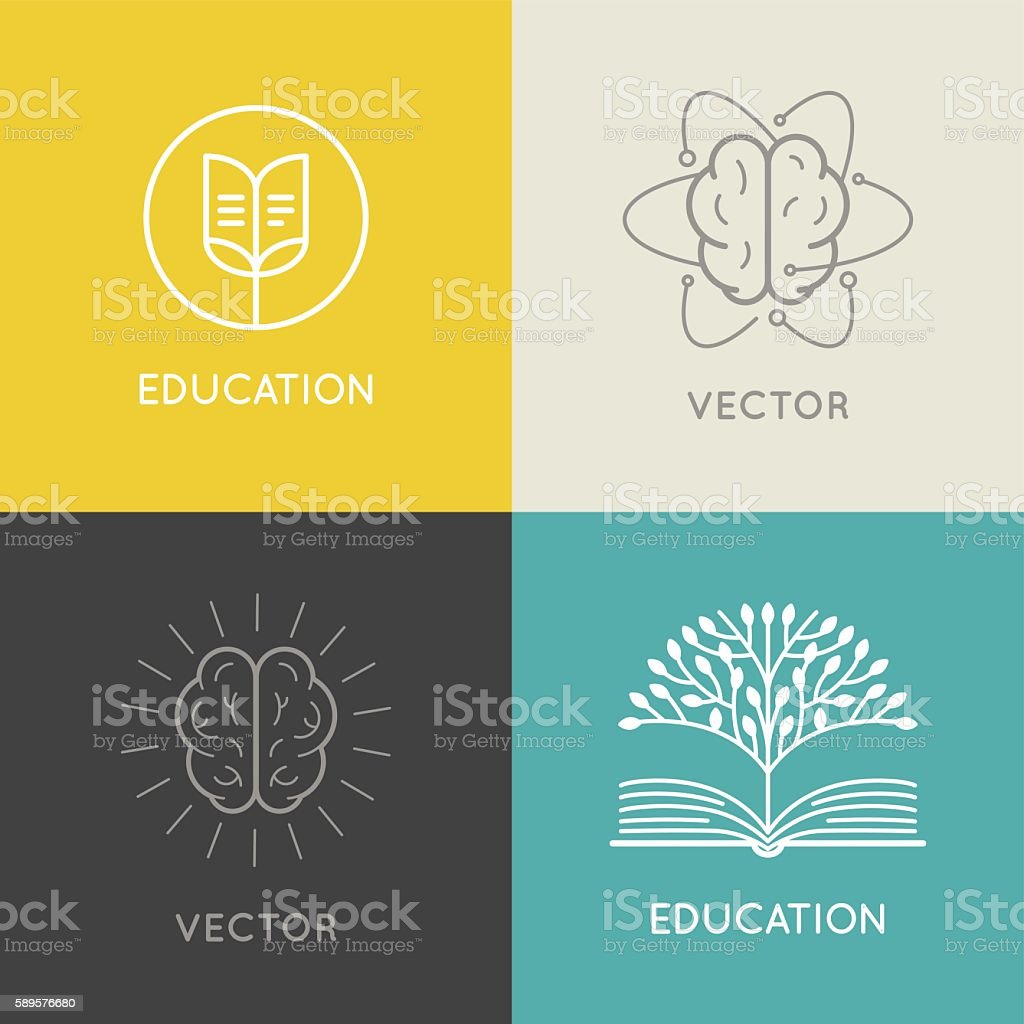 Vector abstract logo design template - online education and lear - ilustración de arte vectorial