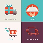 Vector abstract logo design templates in flat style