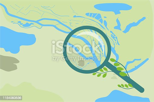 Vector abstract map of the area and a magnifier with a magnification and branches with leaves, top view on a light green background. Composition about the study and the study of nature.