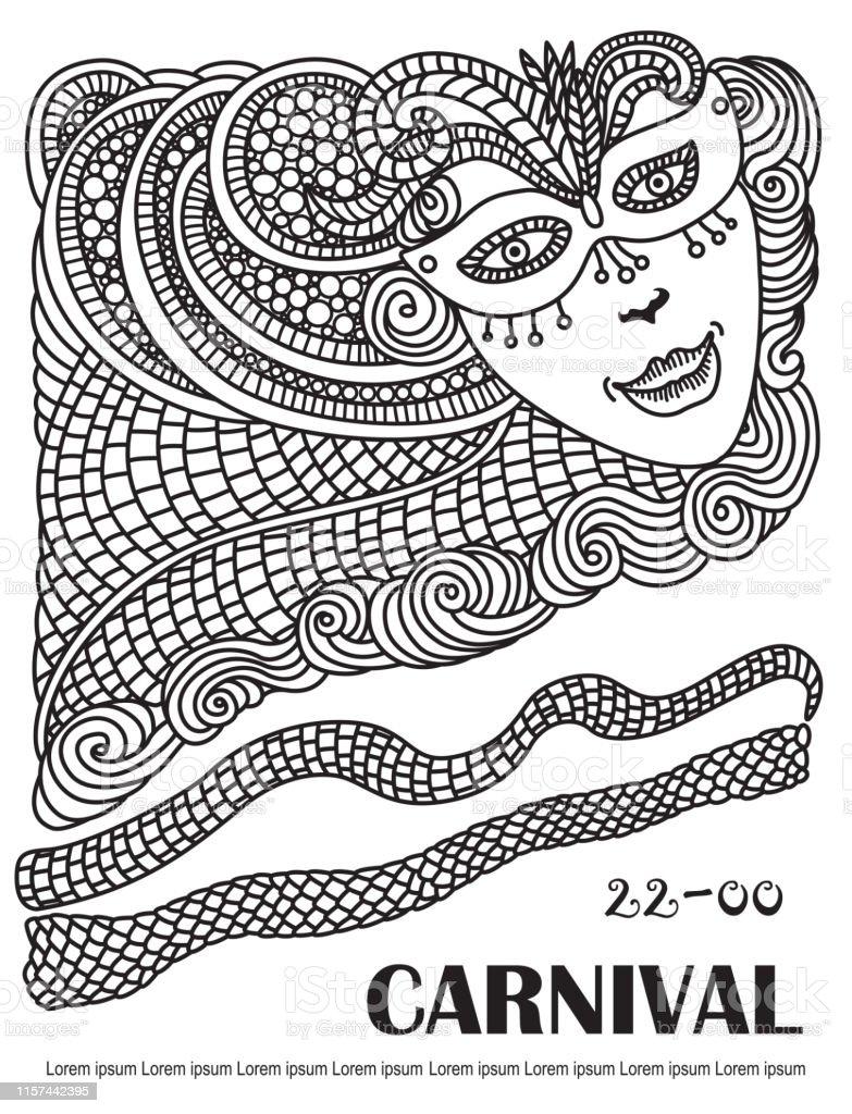 Ilustración De Dibujo De Mascarada Abstracta Vectorial