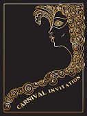 Vector abstract Masquerade drawing. Carnival Party invitation card. Mardi Gras holiday greeting. Golden doodle sketch on a black background. Lady in mask and Baroque wig