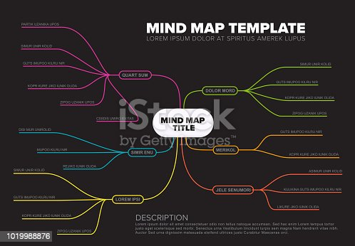 Vector abstract mind map infographic template with place for your content - dark background version