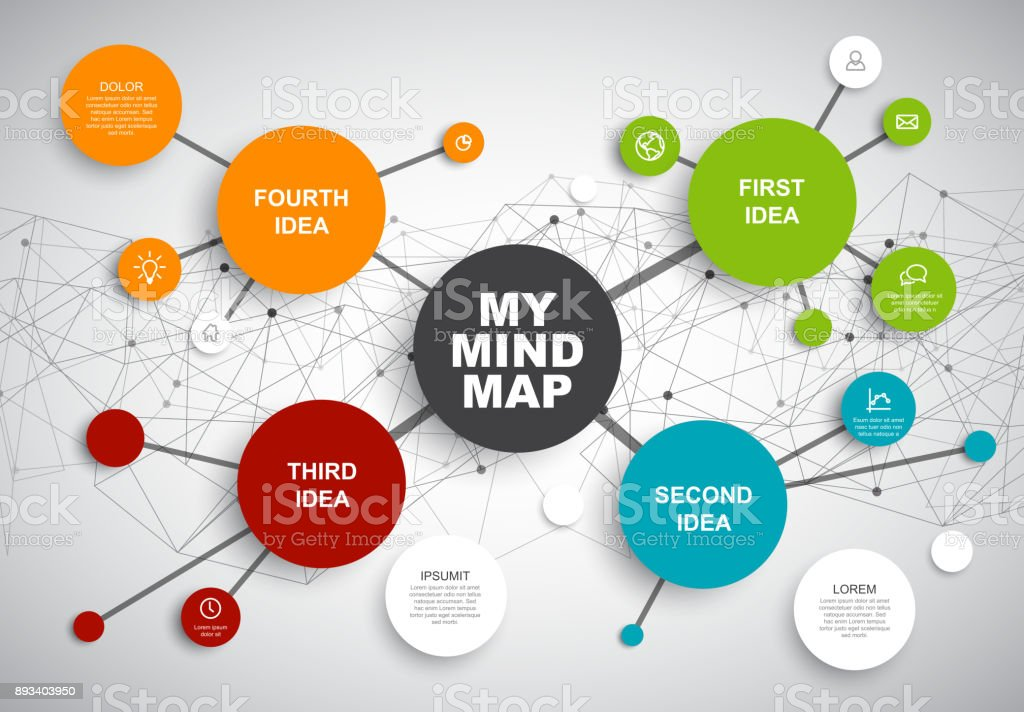 Vector abstract mind map infographic template - illustrazione arte vettoriale