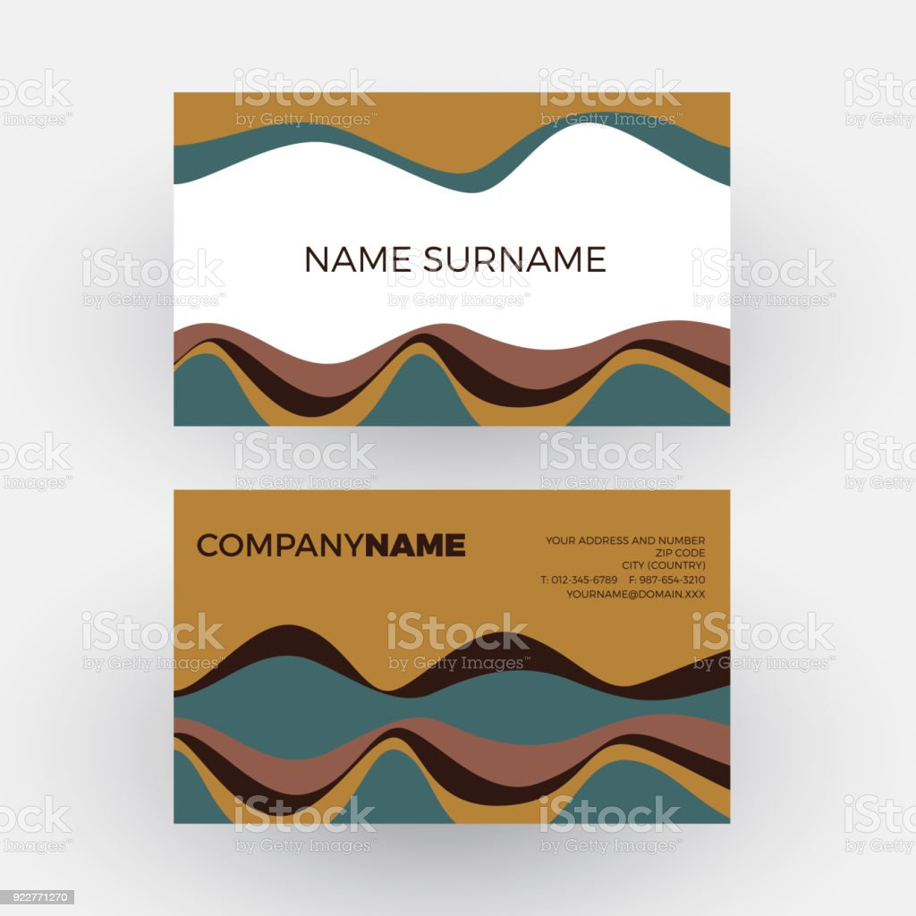 Vector Abstract Minimal Geometric With Waves In Brown Vintage And Pop Background Business Card