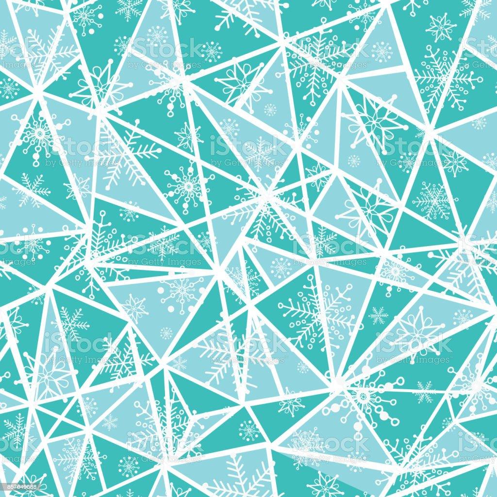 三角形のベクトル抽象的なミント グリーン人工雪の結晶はシームレスな