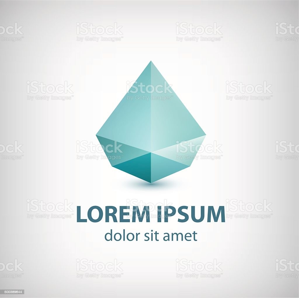 Vector Abstract Modern Crystal Faceted Diamond Geometric Logo Icon Sign Royalty