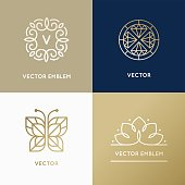 Vector abstract modern logo design templates in trendy linear st