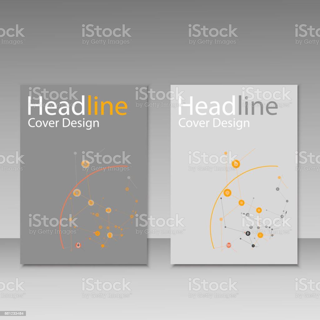 Vector abstract molecular structure. Brochure template design vector art illustration