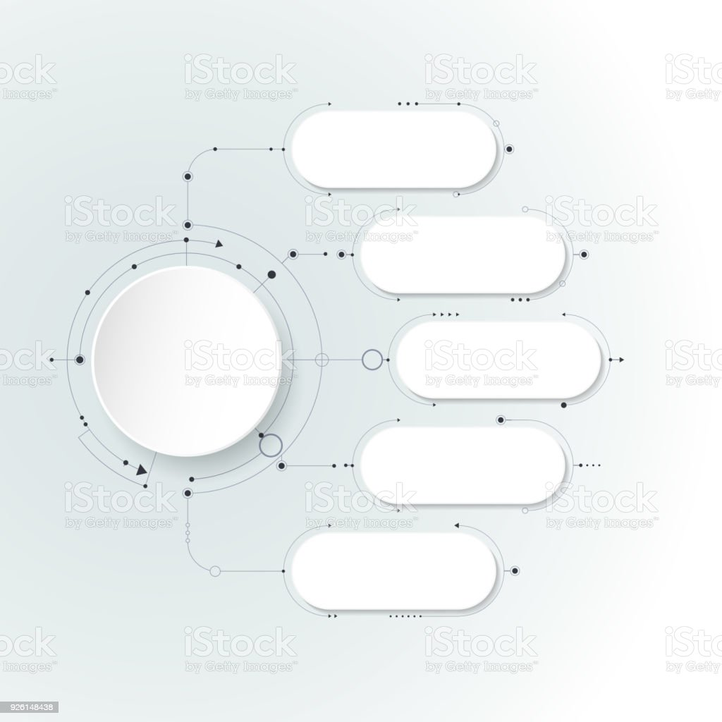 Vector abstract molecules with 3D paper label, integrated circles. Blank space for content vector art illustration