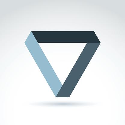 Vector abstract monochrome isosceles triangle. Geometric symbol