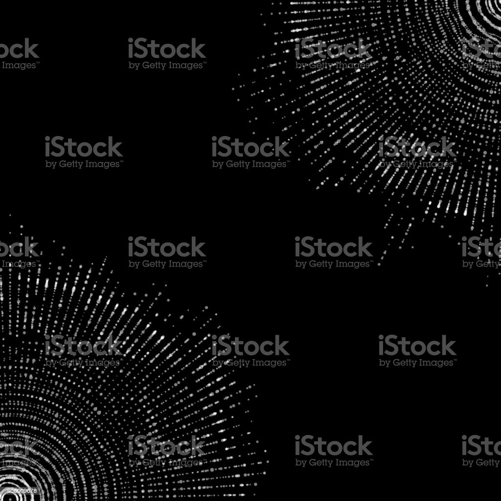 Vector abstract monochrome sphere of particles, points array. Futuristic vector illustration. Technology digital splash or explosion of data points. Spherical waveform. Cyber UI or HUD element. vector art illustration
