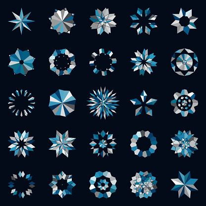Vector Abstract Mosaic Snowflake Pattern Buttons Icon Collection For Design