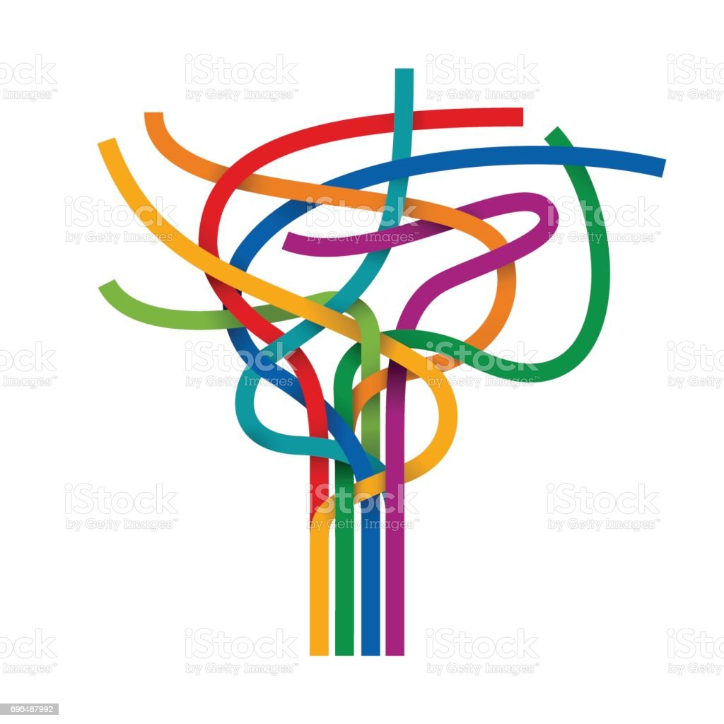 Vector abstract multicolored cables vector art illustration