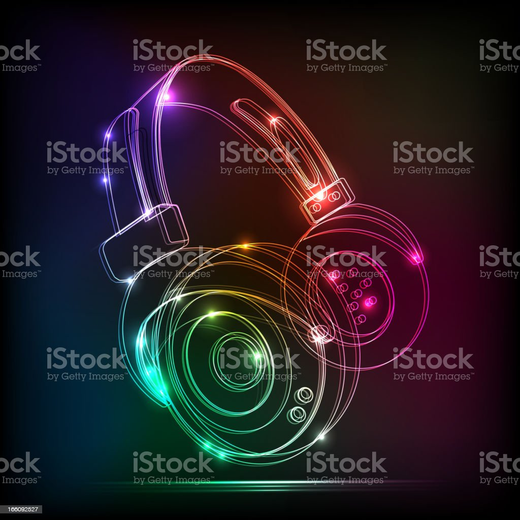 Vector abstract neon Headphones,contains transparencies vector art illustration
