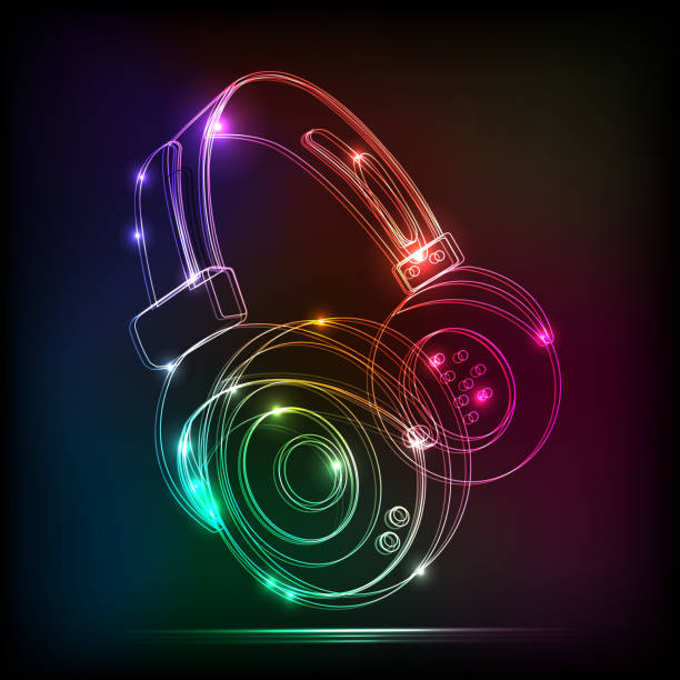 stockillustraties, clipart, cartoons en iconen met vector abstract neon headphones,contains transparencies - dj