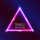 Vector abstract neon triangle light effect background. Glowing decorative effect of luminous geometric shape. Pink and blue gleaming. Illuminating decorative illustration.