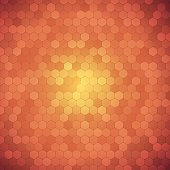 Vector abstract orange background with hexagon shapes different opacity.