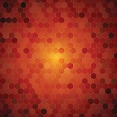 Vector abstract orange background with hexagon shapes different opacity with central glow.