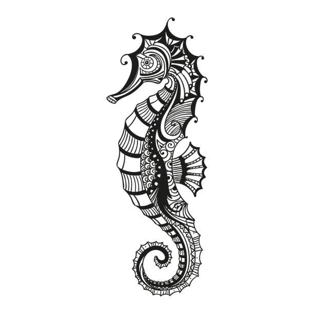 Vector Abstract Ornamental Sea Horse Vector Illustration of an Abstract Ornamental Sea Horse sea horse stock illustrations