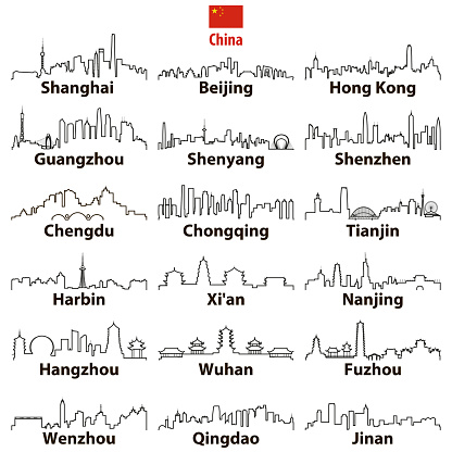 vector abstract otline icons of chinese largest cities skylines