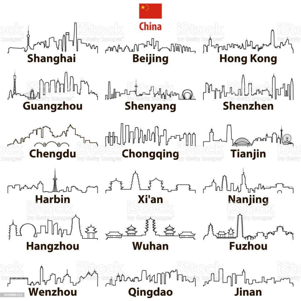 vector abstract otline icons of chinese largest cities skylines vector art illustration