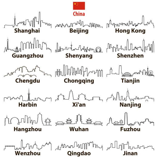 bildbanksillustrationer, clip art samt tecknat material och ikoner med vektor abstrakt otline ikoner av kinesiska största städer horisonter - illustrationer med hongkong